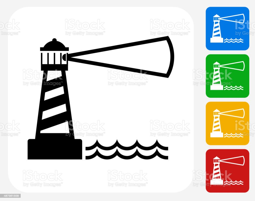 Lighthouse Icon Flat Graphic Design vector art illustration