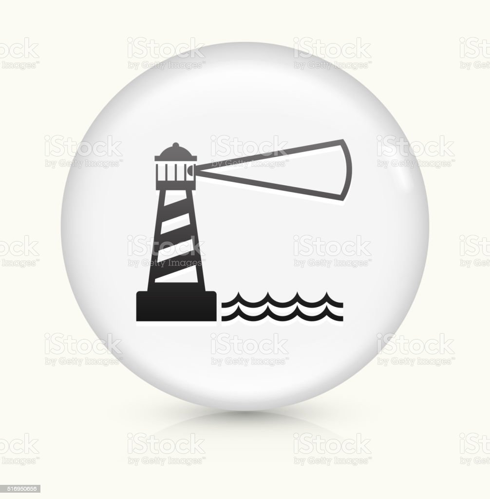 Lighthouse icon on white round vector button vector art illustration