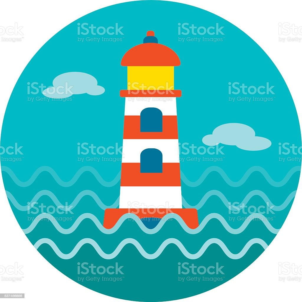 Lighthouse icon. Summer. Vacation vector art illustration