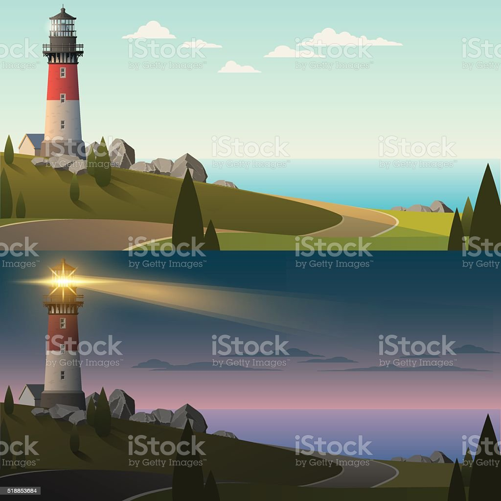 Lighthouse in day and night vector art illustration
