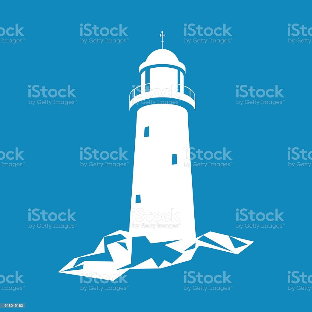 Lighthouse Isolated on Blue vector art illustration