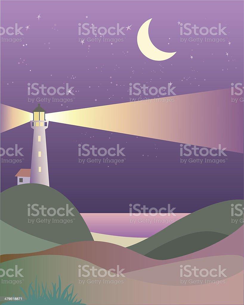 Lighthouse - night scene royalty-free stock vector art