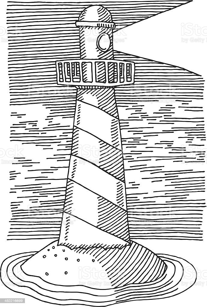 Lighthouse Night Sea Drawing royalty-free stock vector art