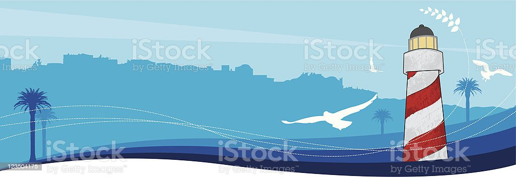 Lighthouse of Aegean royalty-free stock vector art