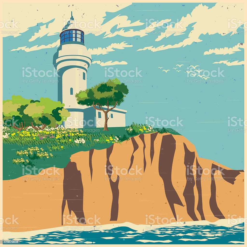 lighthouse on a cliff old poster vector art illustration