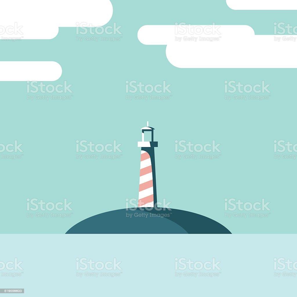 Lighthouse on an island landscape vector illustration. Summer holiday postcard vector art illustration
