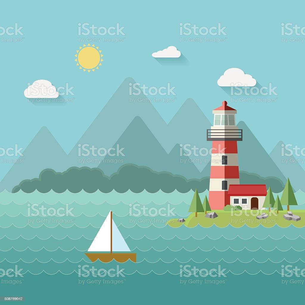 Lighthouse on beach, island, mountains background, yacht or ship vector art illustration