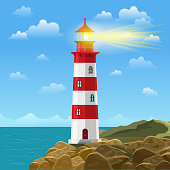 Lighthouse on ocean or sea beach cartoon background vector illustration
