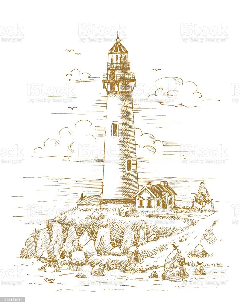 Lighthouse on the coast drawn by hand vector art illustration