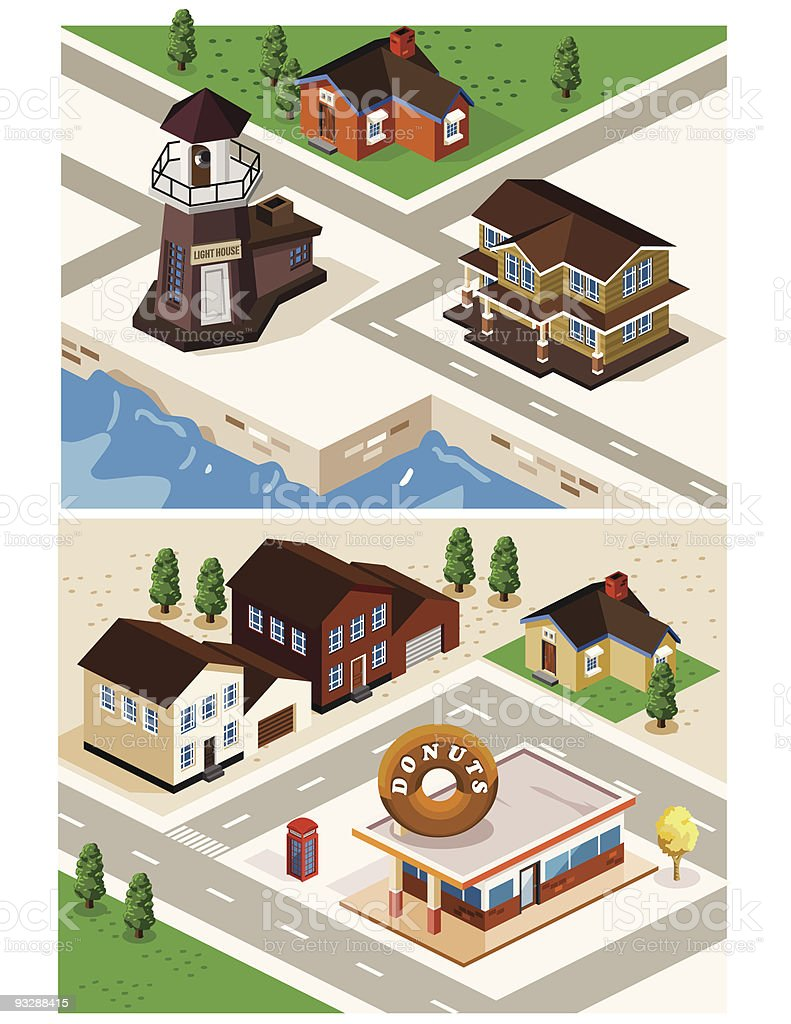 Lighthouse, shop, and house in detailed isometric vector royalty-free stock vector art
