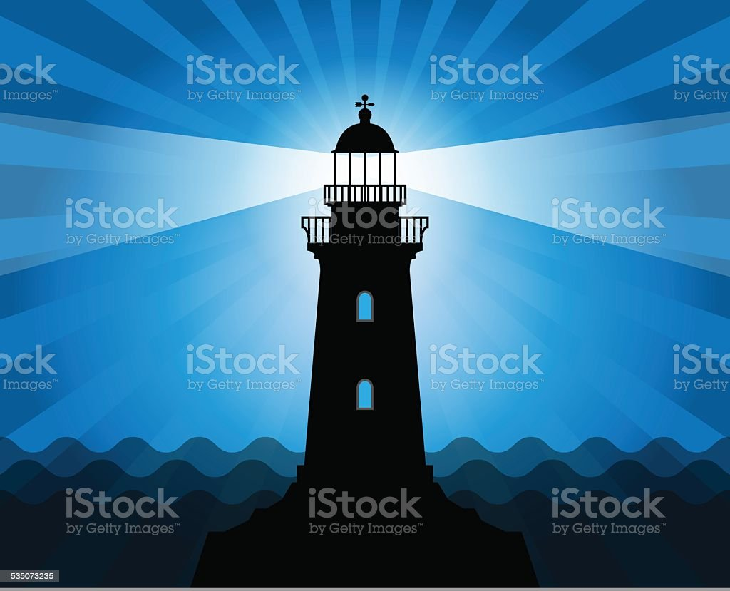 Lighthouse silhouette vector art illustration
