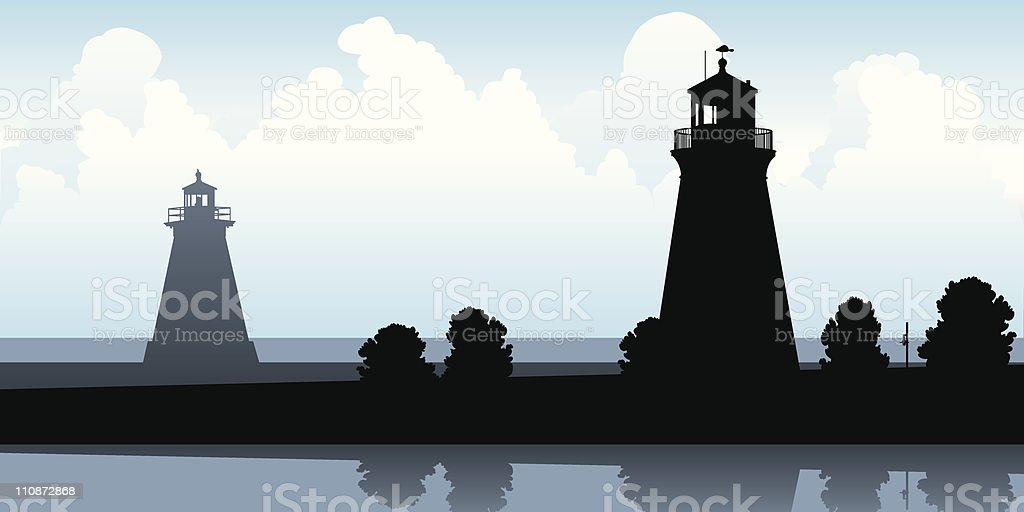 Lighthouse Silhouettes royalty-free stock vector art