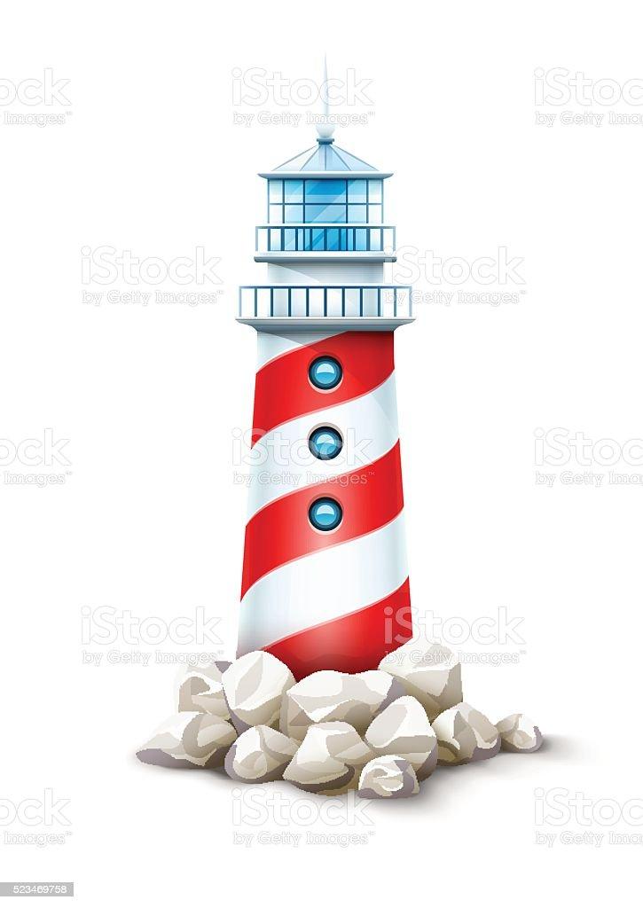 Lighthouse tower at stone rocks hill vector illustration sea beacon vector art illustration