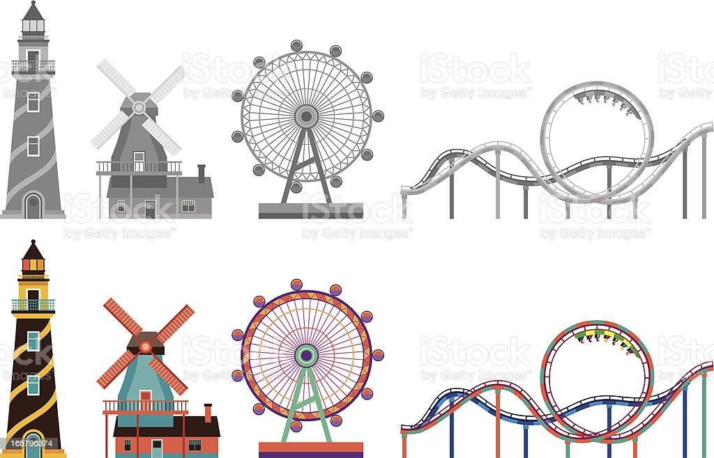 lighthouse,windmill,ferris wheel and Roller coaster vector art illustration