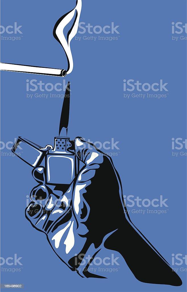 Lighting a cigarette vector art illustration