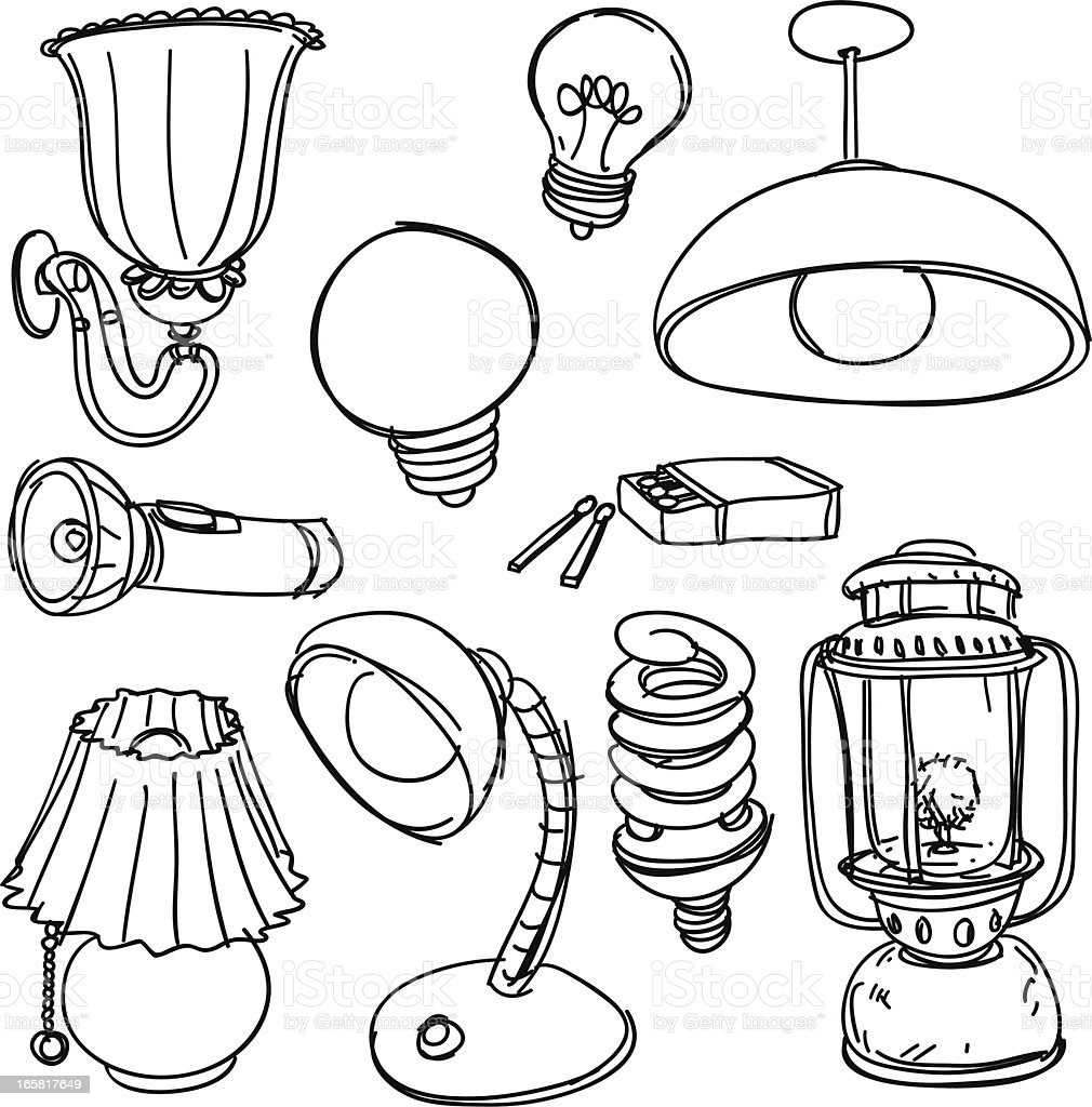 Lighting collection in black and white royalty-free stock vector art