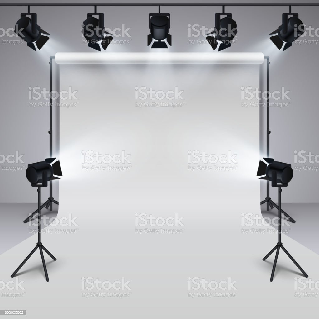 Lighting equipment and professional photography studio white blank background. 3d vector illustration vector art illustration
