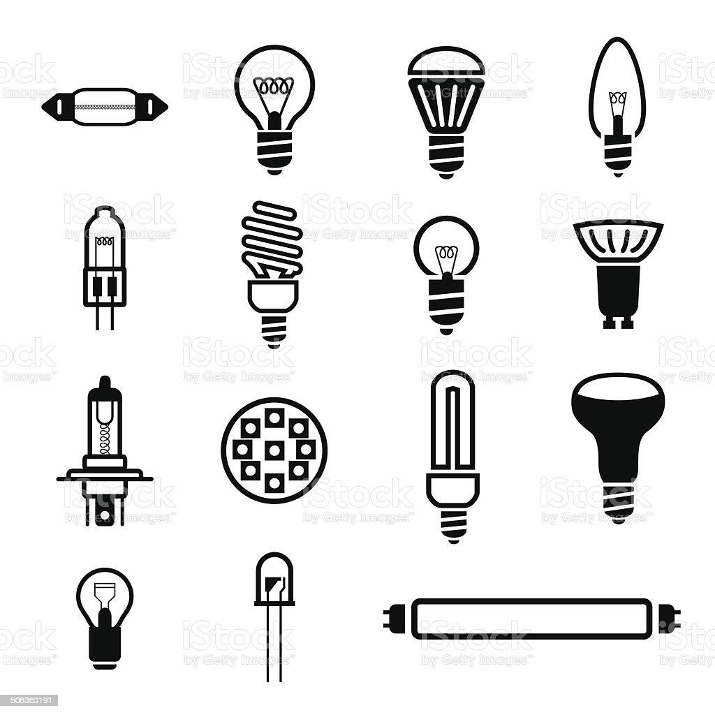 Lighting icons vector art illustration