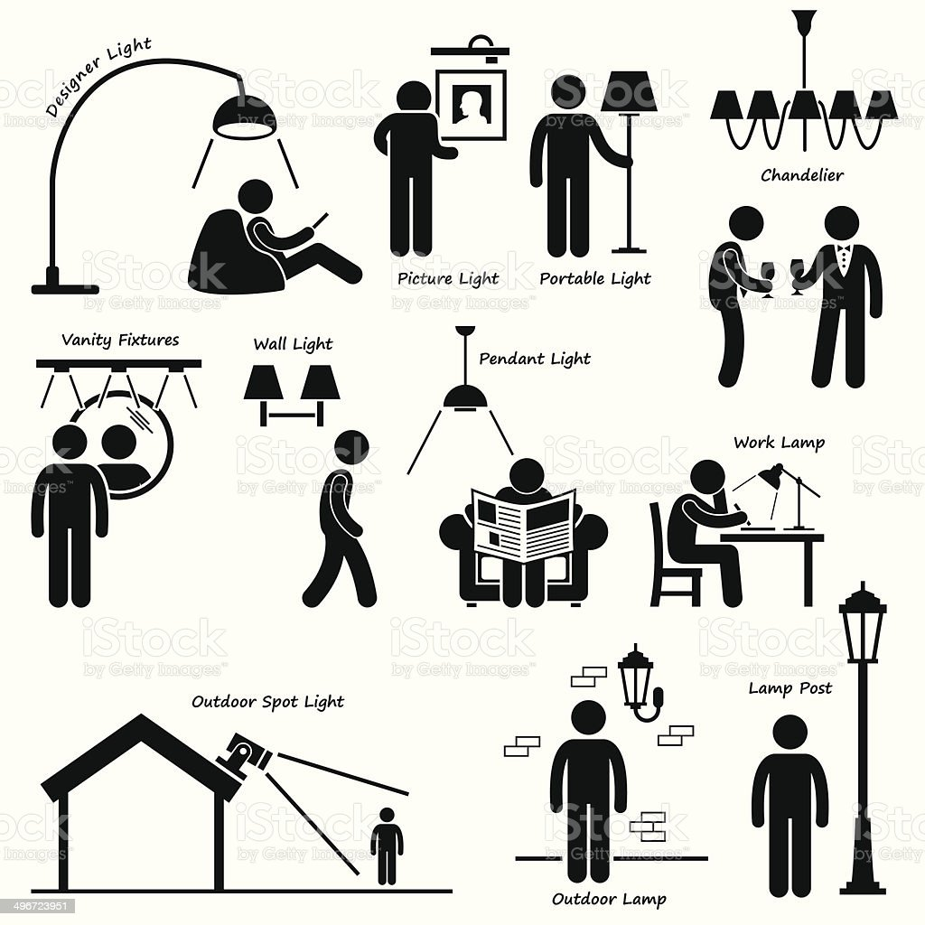 Lighting Lamp Designs Icon Cliparts vector art illustration