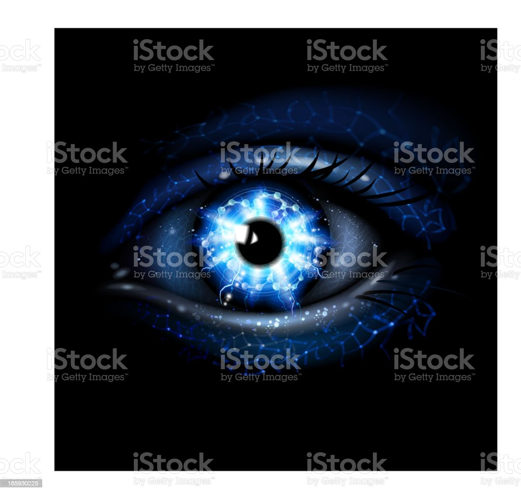 Lightining blue Eye vector art illustration