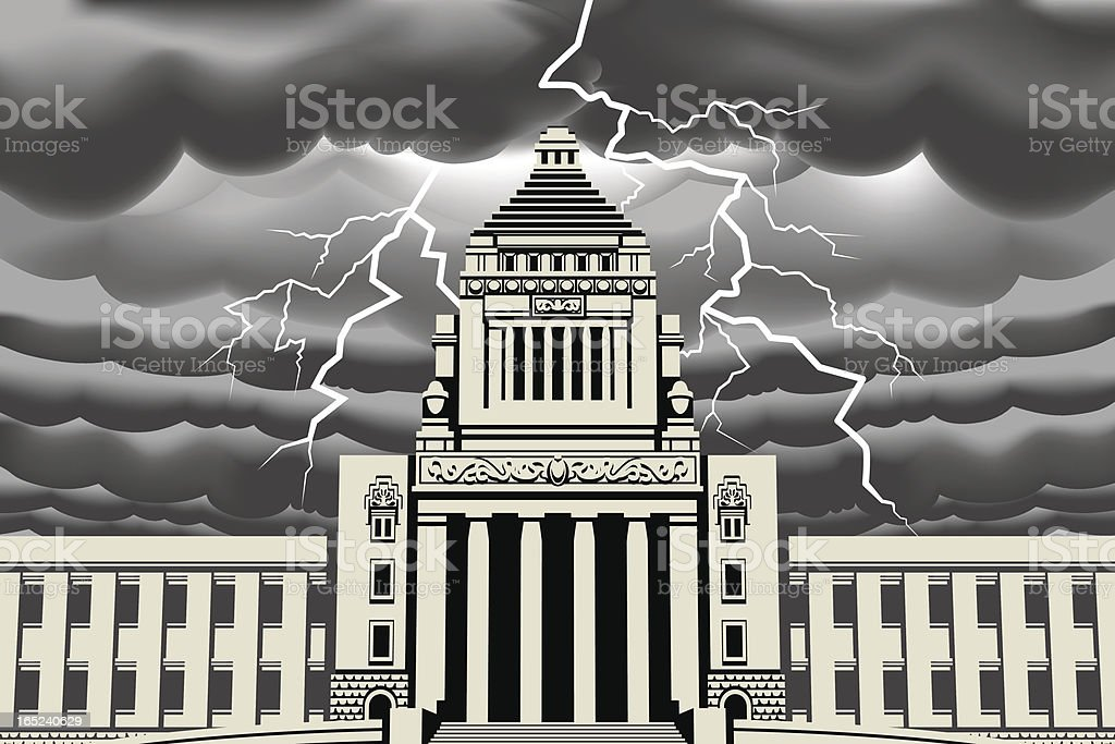 Lightning bolt at Japan National Diet Building royalty-free stock vector art
