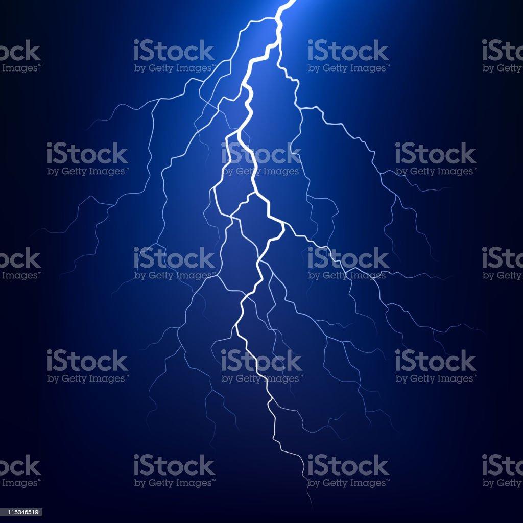 Lightning bolt at night vector art illustration