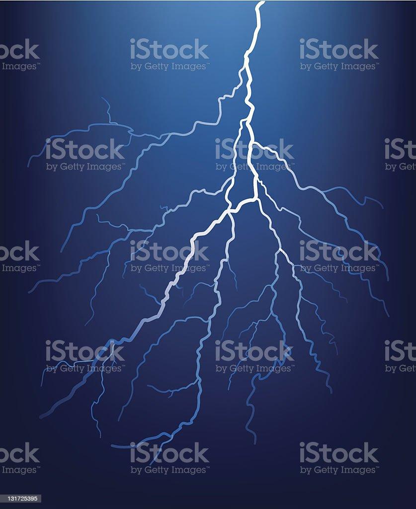 Lightning bolt at night. royalty-free stock vector art