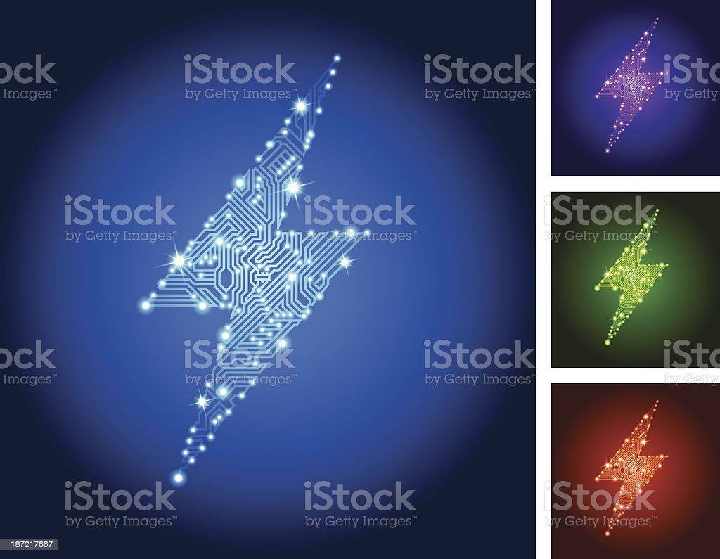 Lightning Bolt Circuit Board Color Set royalty-free stock vector art