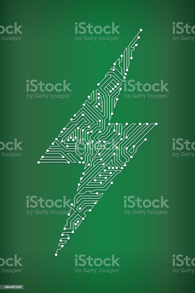 Lightning Bolt Circuit Board royalty free vector art background vector art illustration