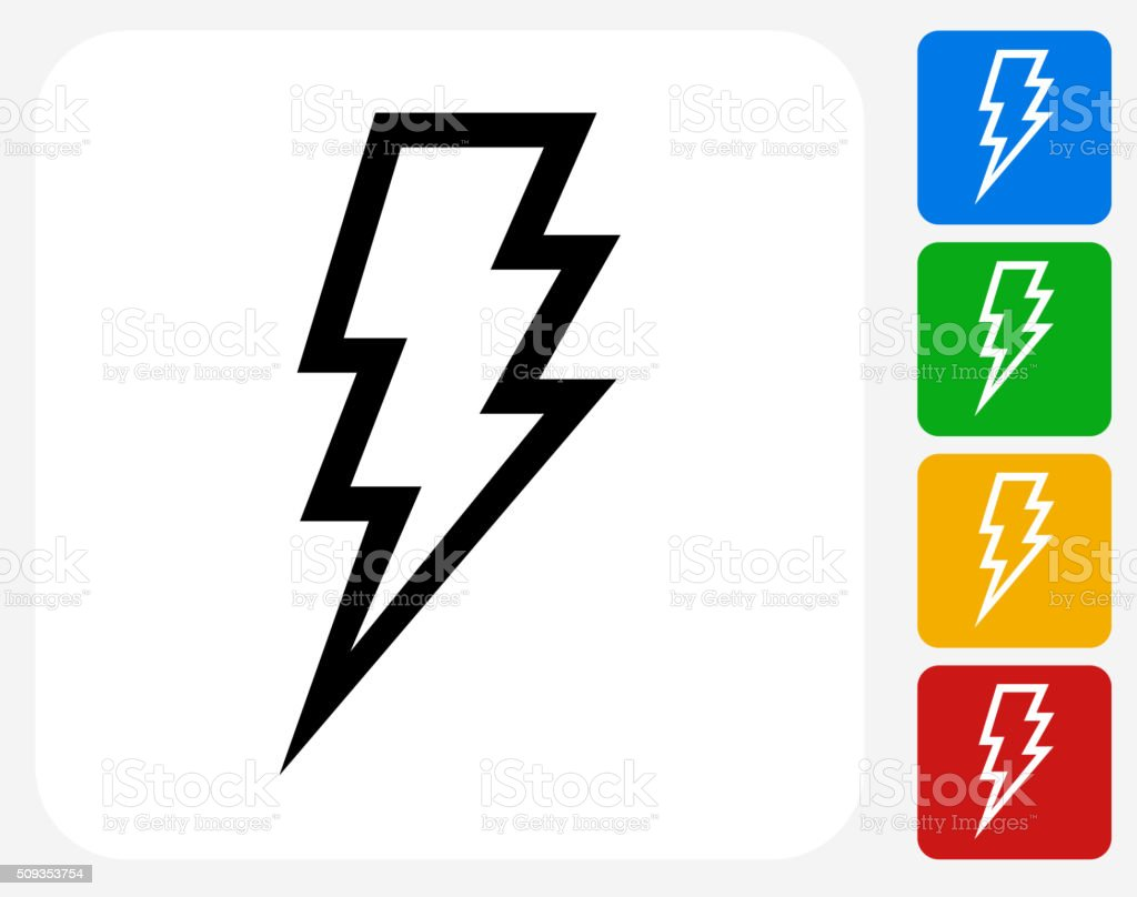Lightning Bolt Icon Flat Graphic Design vector art illustration