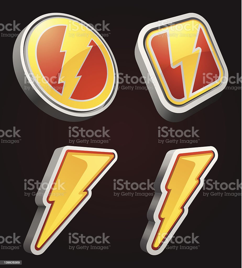 Lightning Bolt Icons royalty-free stock vector art