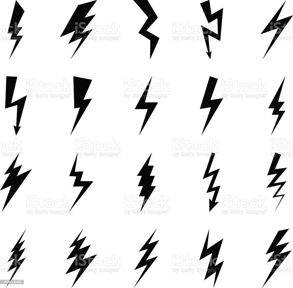 Lightning bolt icons vector art illustration