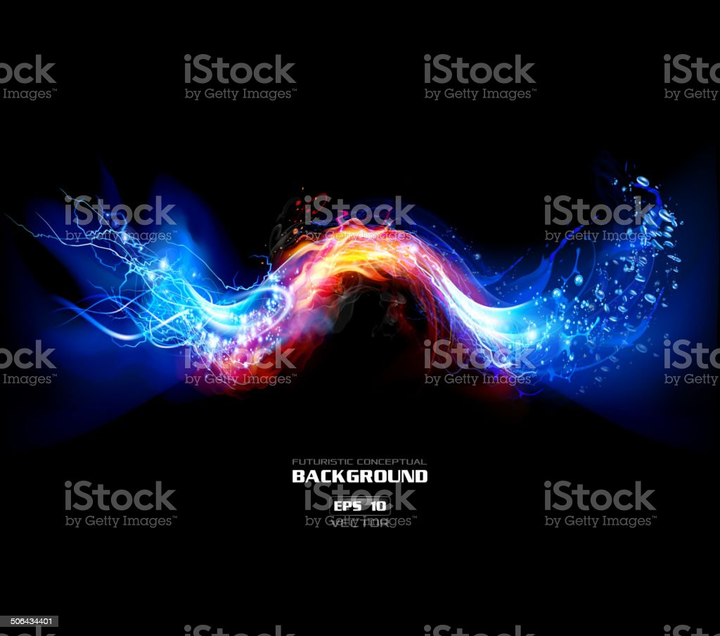 Lightning, FIre and Water Background vector art illustration