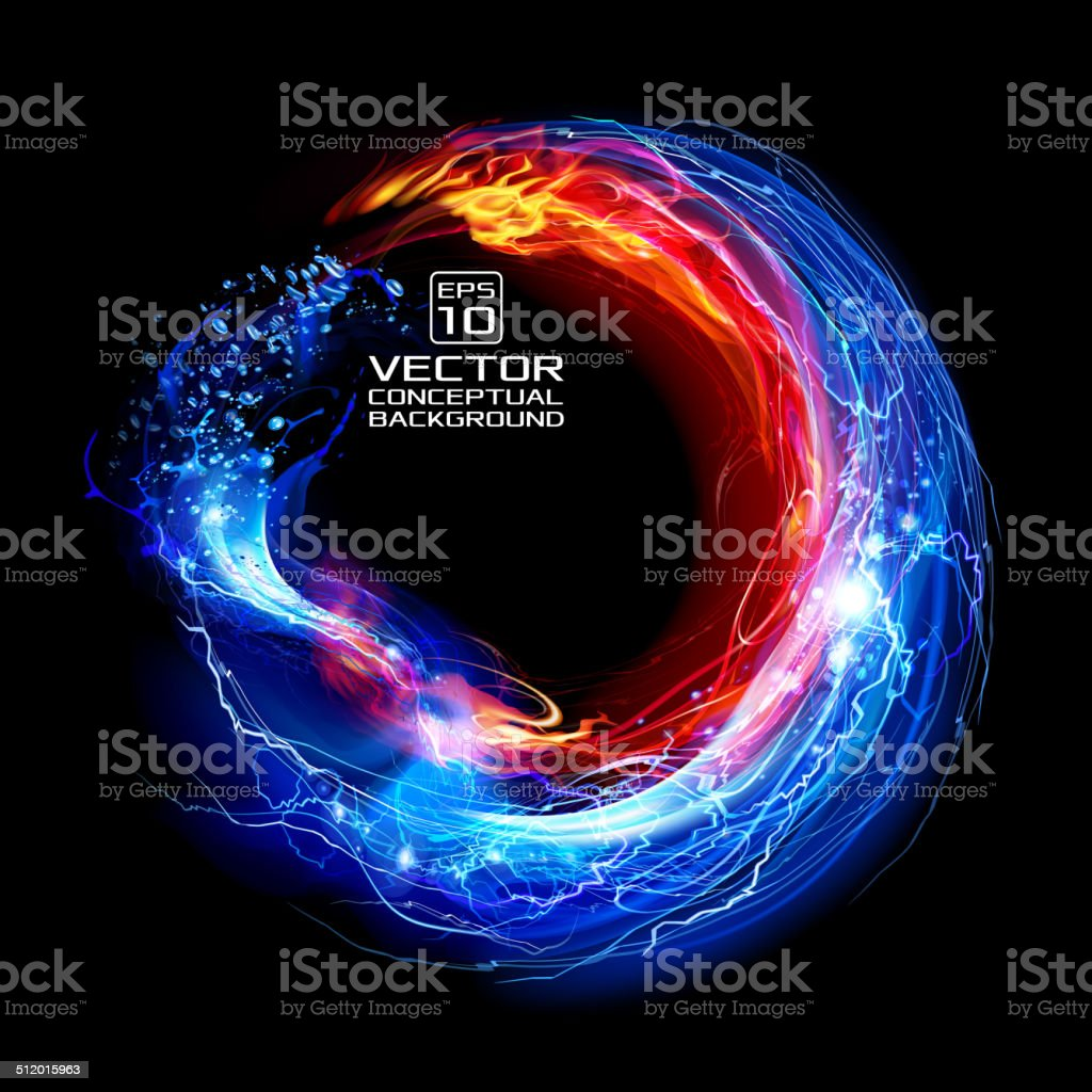 Lightning, FIre and Water Ring Background vector art illustration