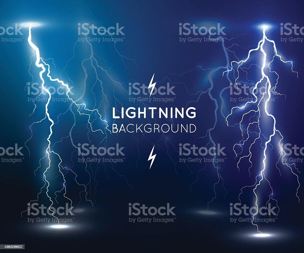 Lightning flash strike background vector art illustration