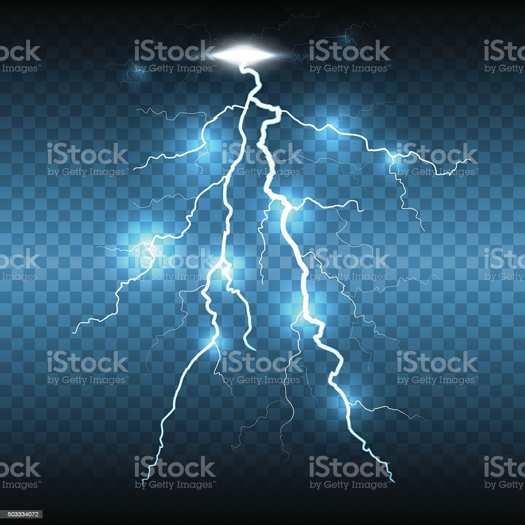 Lightning flash strike, transparent background vector art illustration