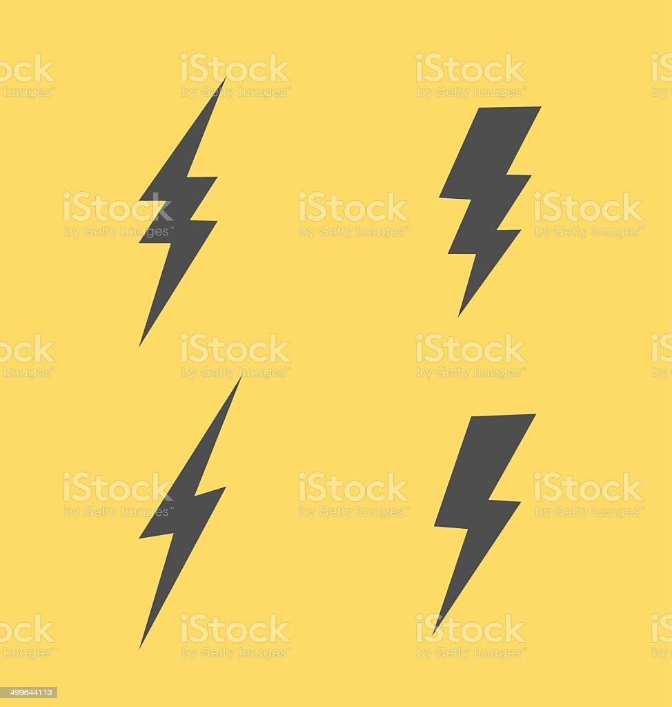 Lightning flat icons set vector art illustration