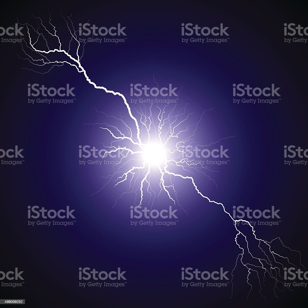 Lightning from the center bifurcated vector art illustration