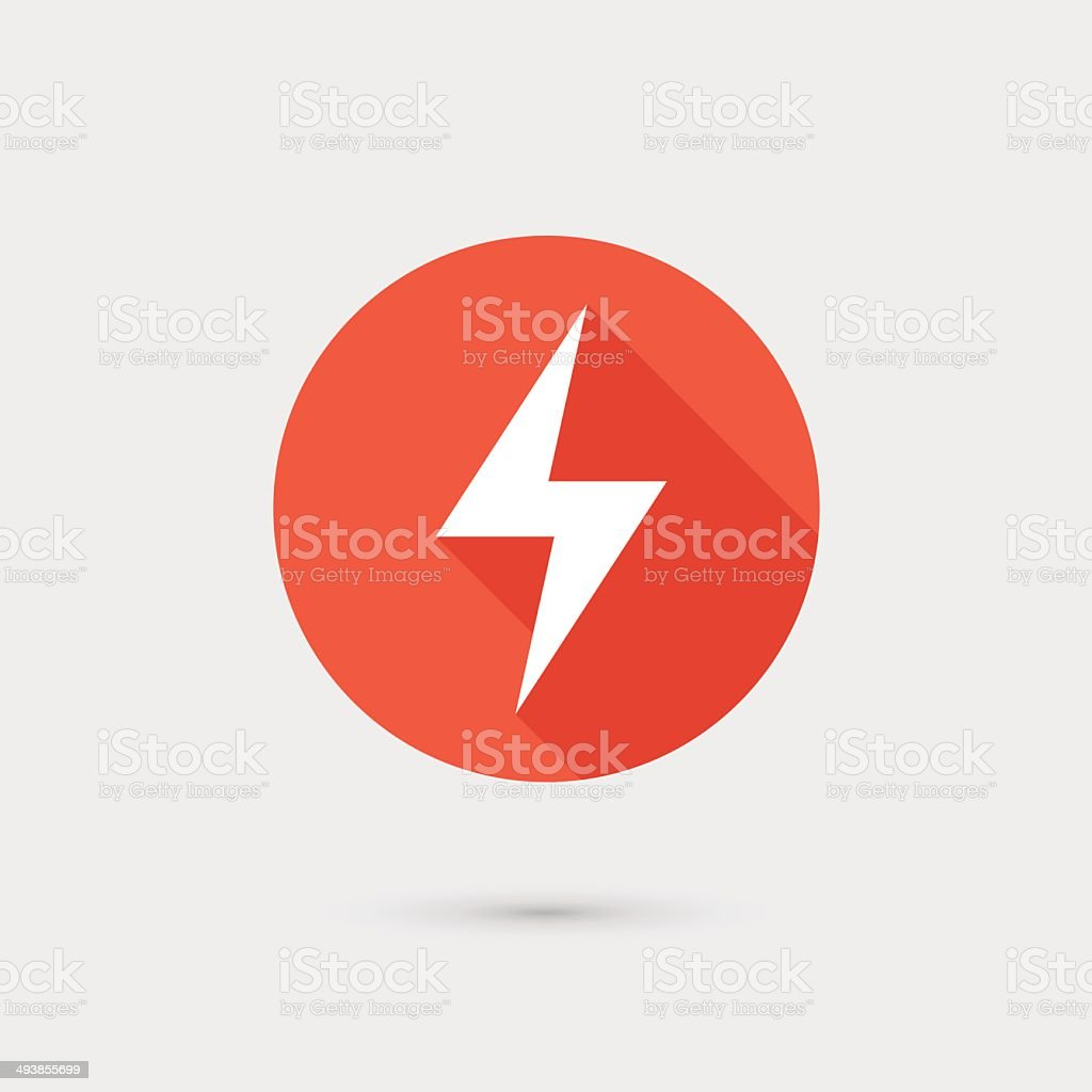 Lightning icon red circle on gray background vector art illustration