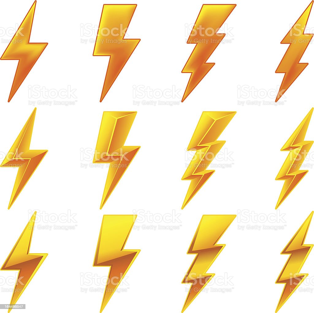 Lightning icon set vector art illustration