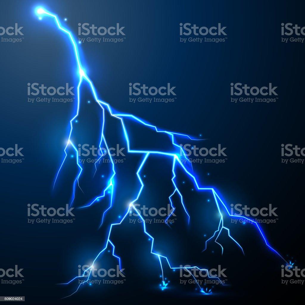 Lightning of blue with a black background vector art illustration