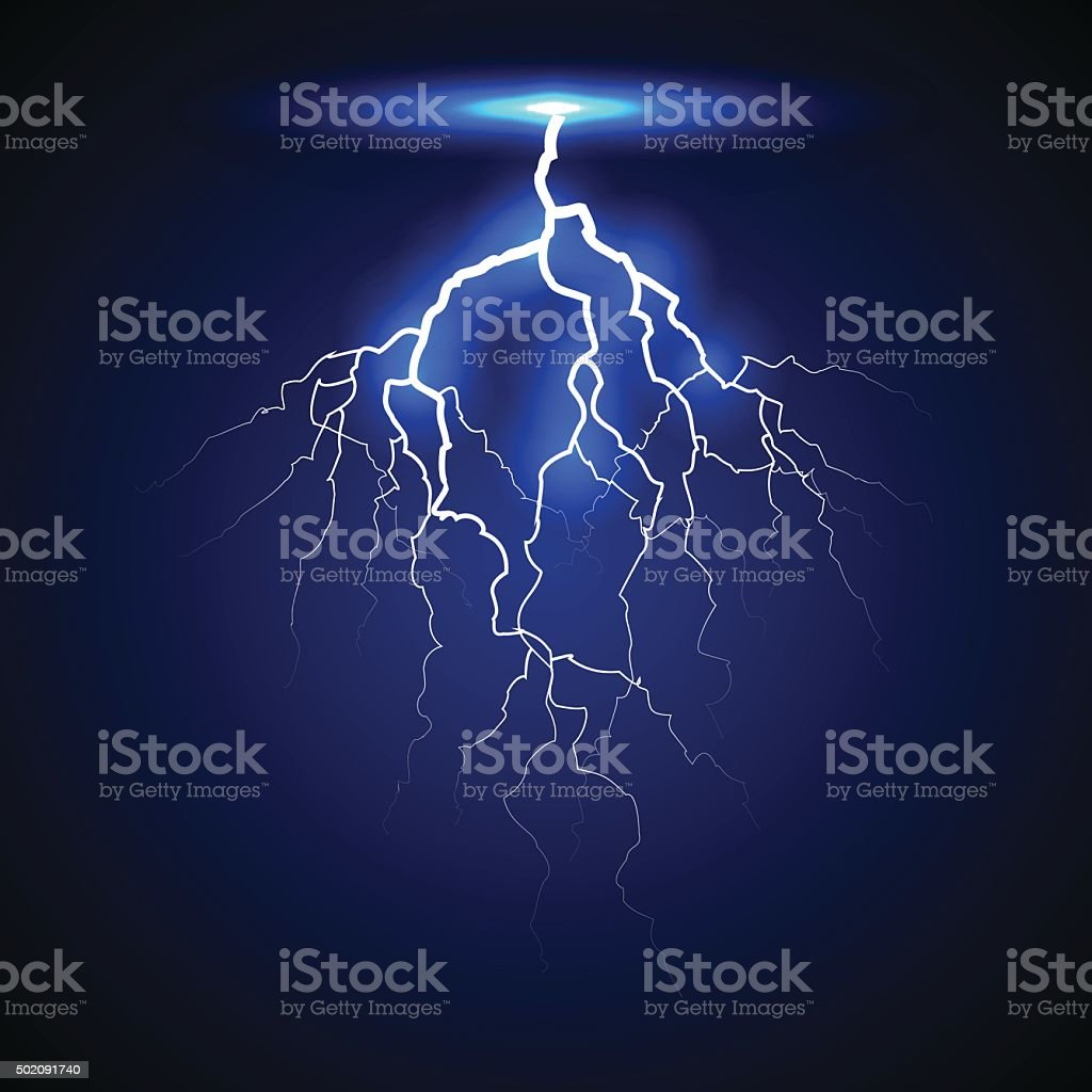 lightning on a dark background vector art illustration
