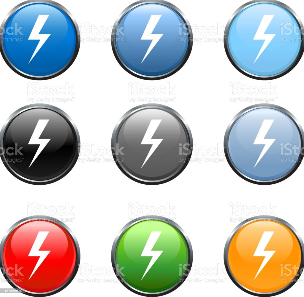 lightning royalty free vector icon set in nine colors royalty-free stock vector art
