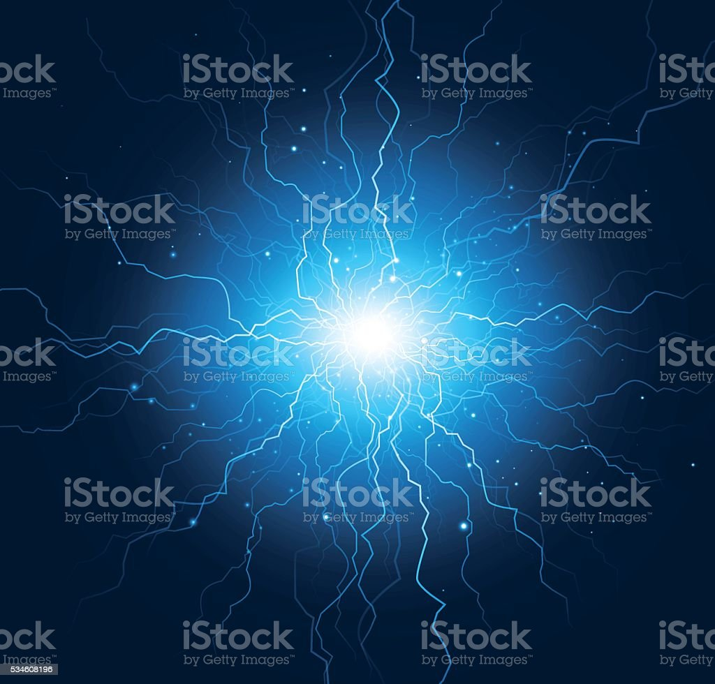 Lightning strike vector art illustration