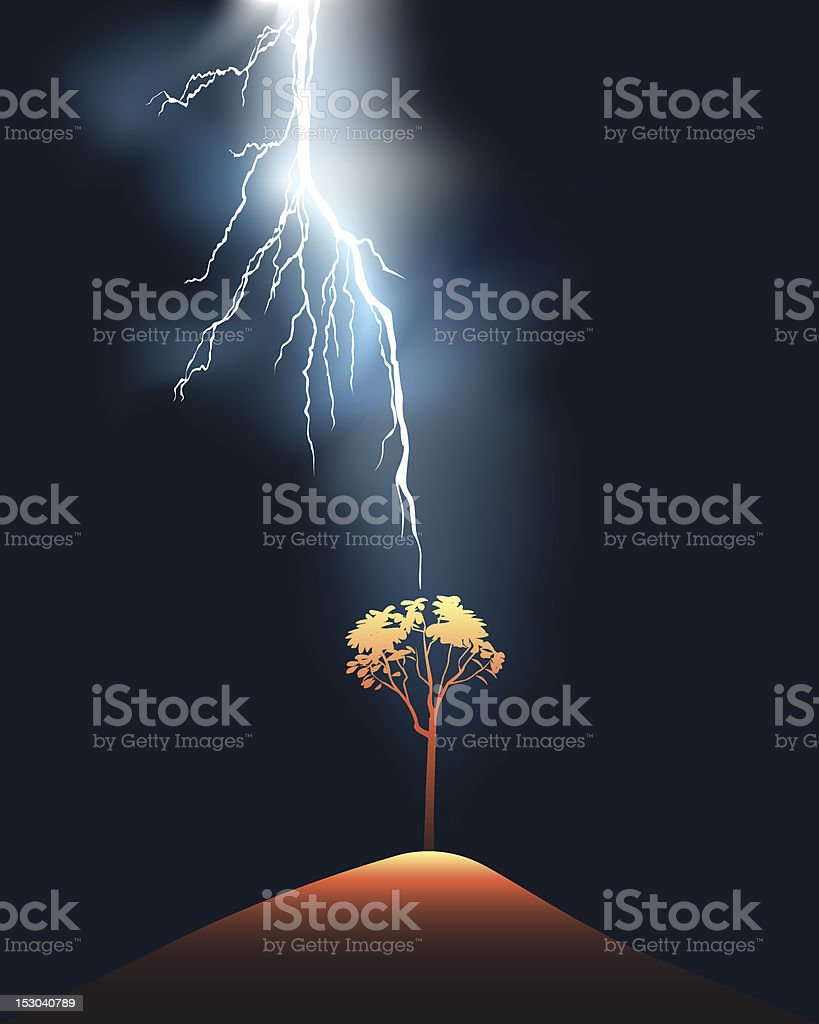 Lightning stroke in a lonely tree royalty-free stock vector art