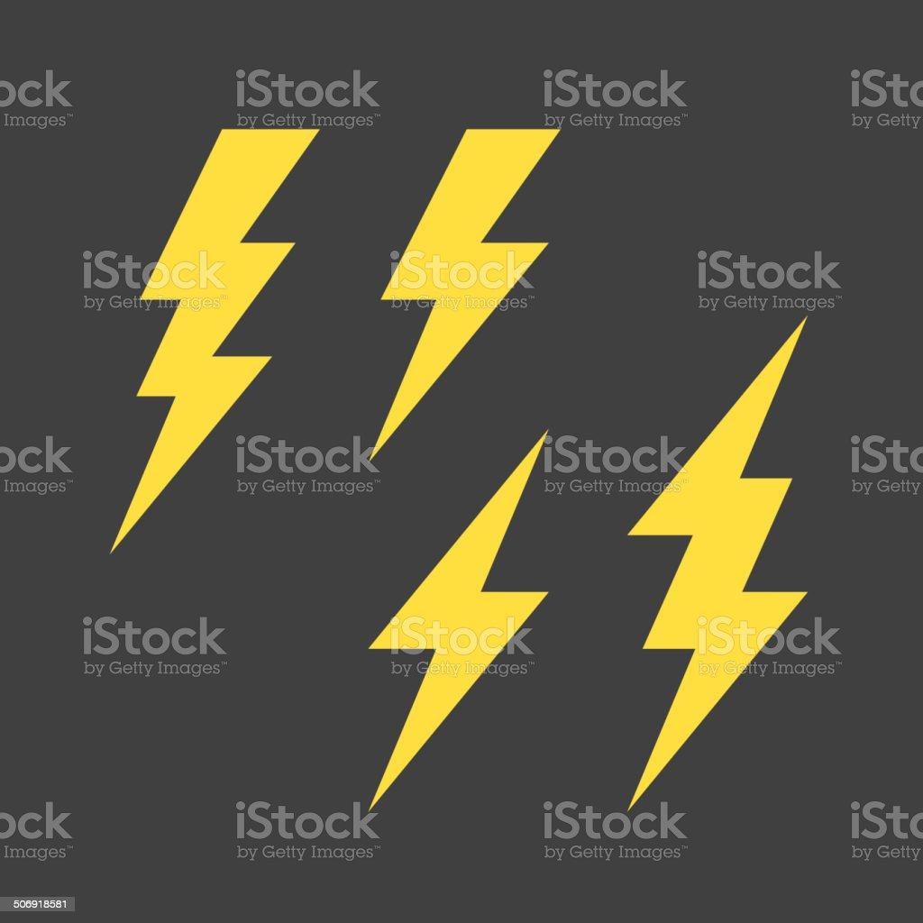 Lightning symbols set vector art illustration