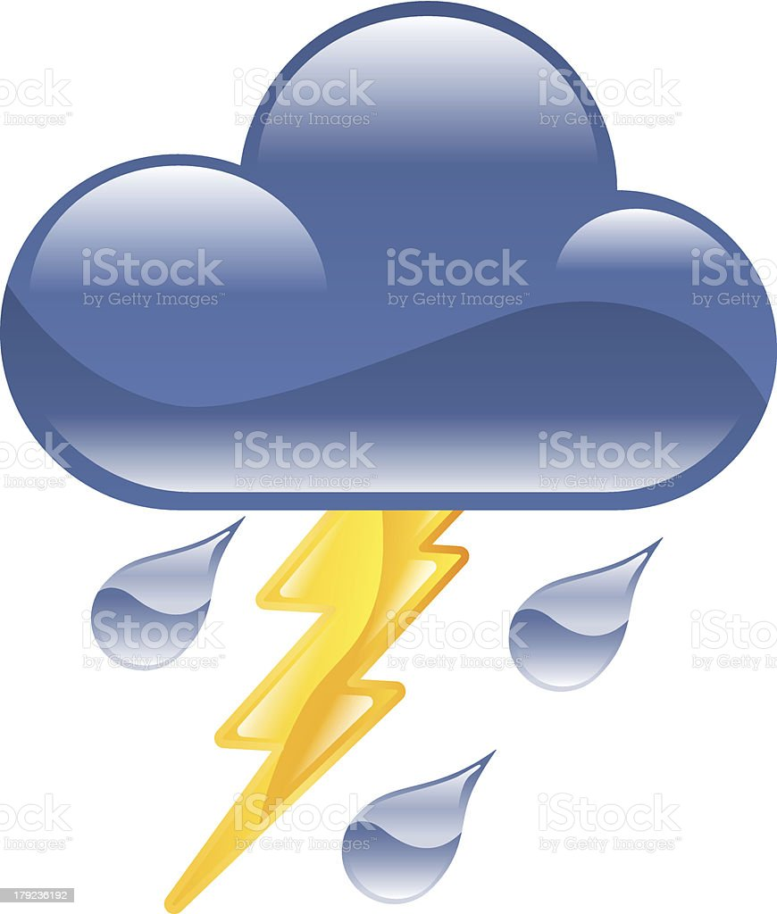 Lightning thunder storm icon vector art illustration