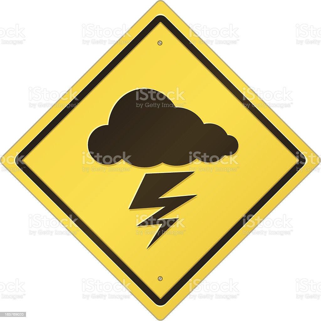 Lightning Warning Sign royalty-free stock vector art