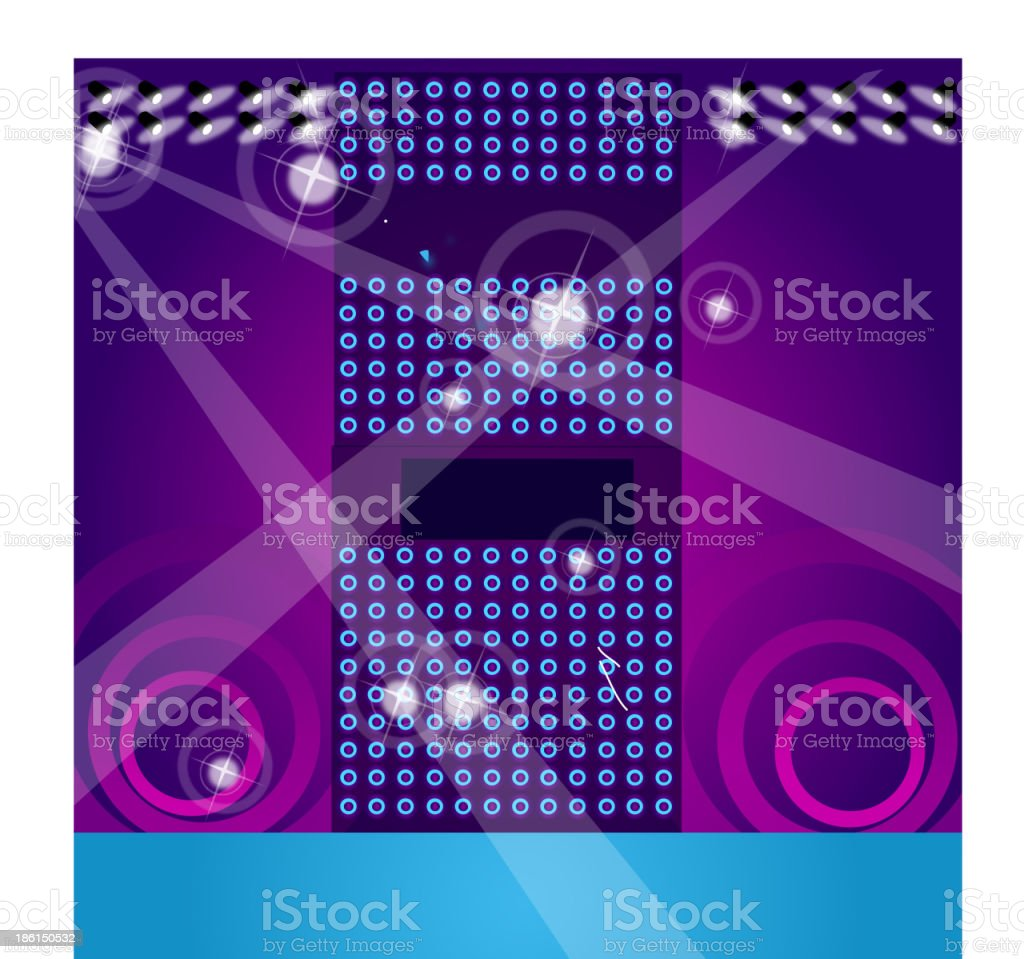 Lights and speaker in nightclub royalty-free stock vector art