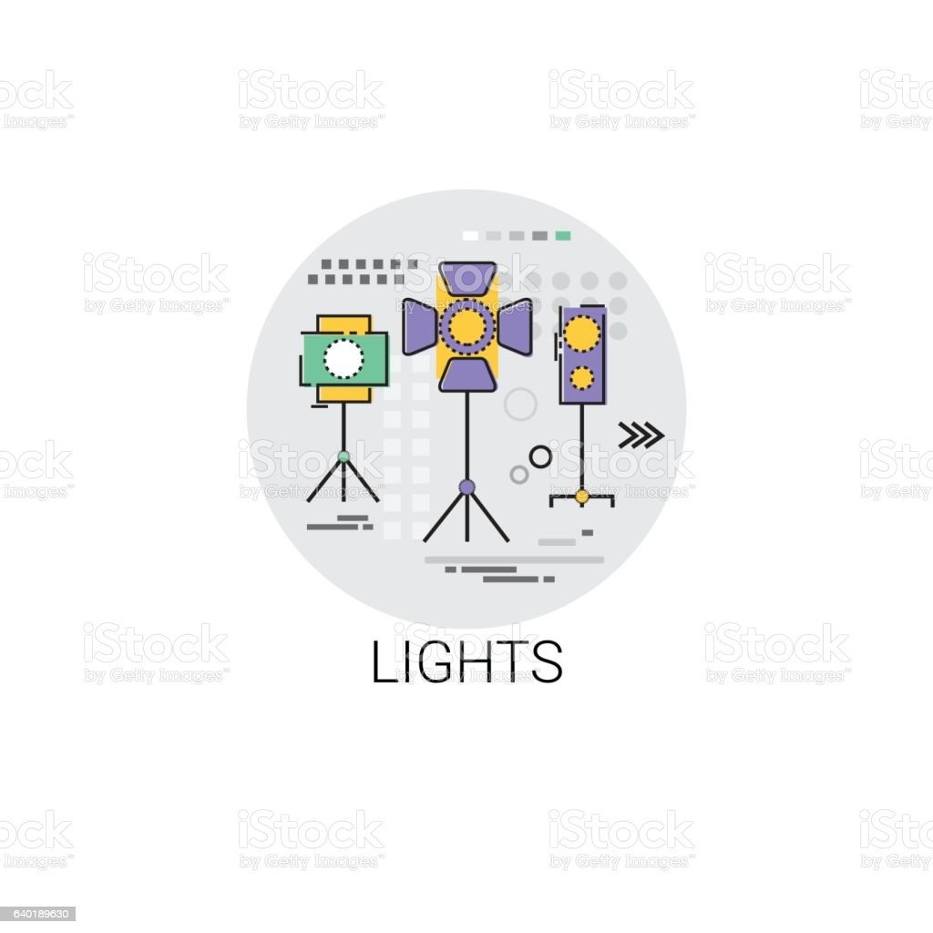 Lights Film Production Industry Icon vector art illustration